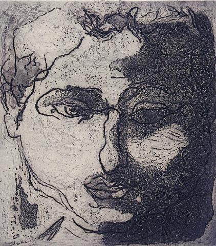 Visage violet, 1947 - Jean Fautrier