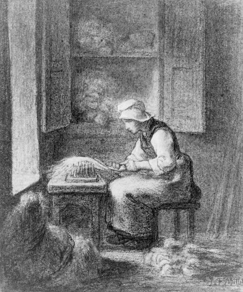 The Carder, c.1854 - Jean-Francois Millet