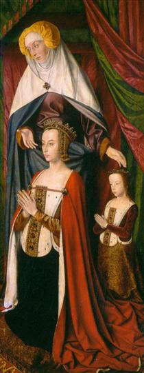St. Anne presenting Anne of France and her daughter, Suzanne of Bourbon - right wing of The Bourbon Altarpiece - Жан Эй (Муленский мастер)