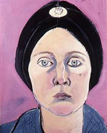 Self-Portrait in Turban with Eskimo Dog Pin - Joan Brown