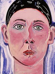 Self-Portrait with Scarf (aka Woman in Scarf) - Joan Brown