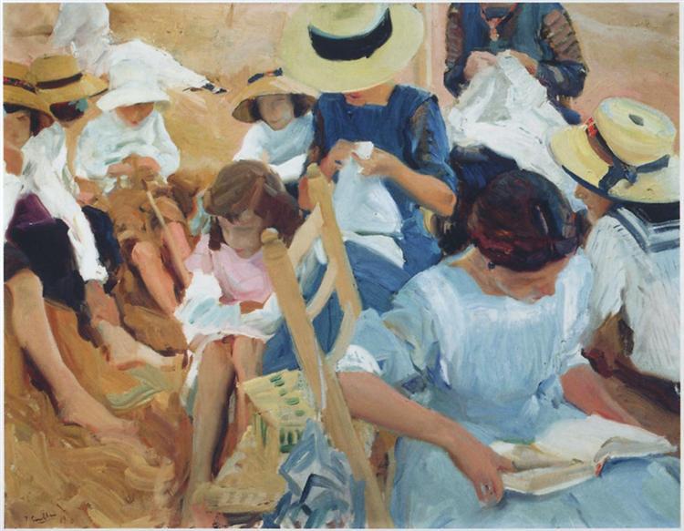 On the sands at Zarauz beach, 1910 - Joaquín Sorolla