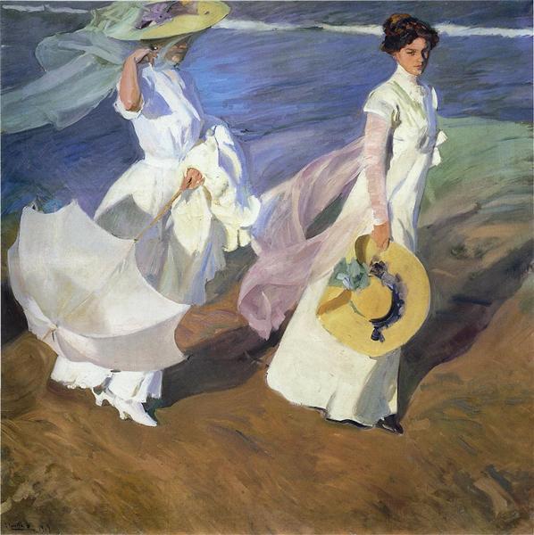 Strolling along the Seashore, 1909 - Joaquín Sorolla