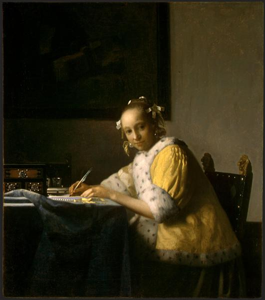 A lady writing, c.1665 - c.1666 - 扬·弗美尔