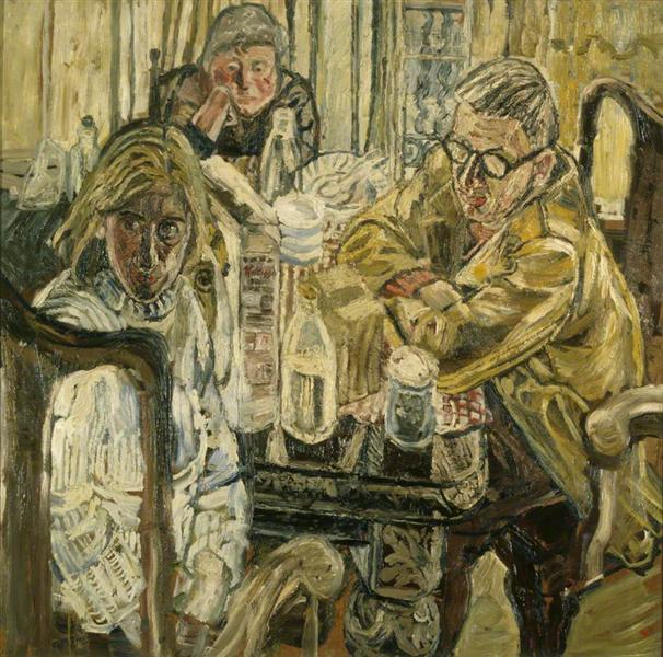 Three People at a Table - John Bratby