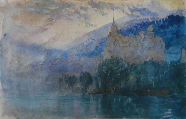 The Chateau of Neuchatel at dusk, with Jura mountains beyond, 1866 - John Ruskin