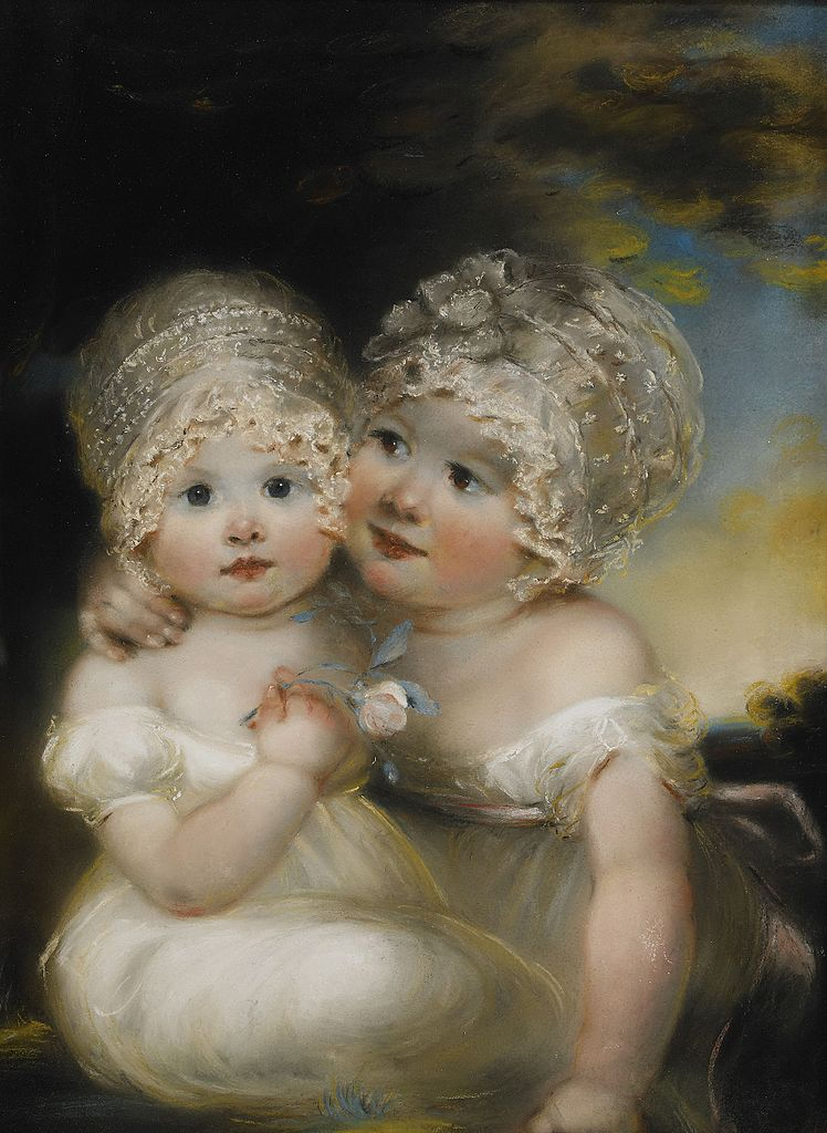 Two small Girls with Bonnets