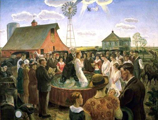 Baptism in Kansas, 1928 - John Steuart Curry