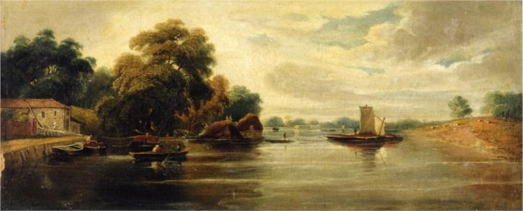 A View of the Thames Looking towards Battersea - John Varley