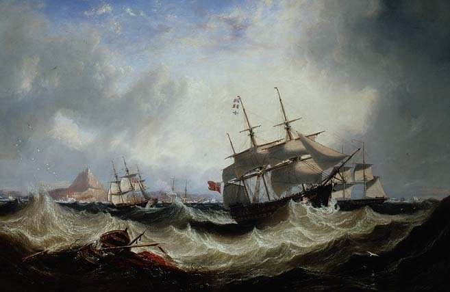 Shipping off Gibraltar in heavy seas - John Wilson Carmichael