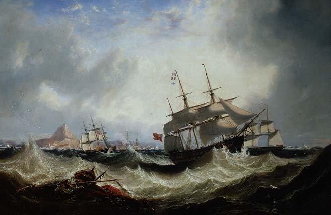 Saindo de Gibraltar com o mar agitado - John Wilson Carmichael