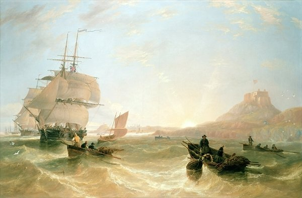 Squadron of Frigates and Fishing Vessels in a Choppy Sea off Holy Island - John Wilson Carmichael