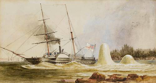 The survey vessel H.M.S. Merlin narrowly escaping destruction by two Russian mines off Sveaborg early in August, 1855