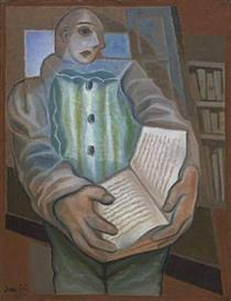 Pierrot with Book - Juan Gris