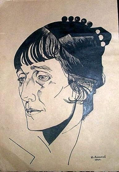Portrait of  poet Anna Akhmatova, 1921 - Juri Pawlowitsch Annenkow