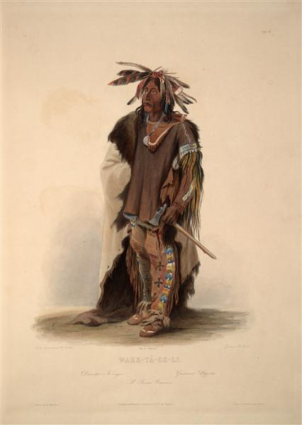 Wahk-Ta-Ge-Li, a Sioux Warrior, plate 8 from Volume 2 of 'Travels in the Interior of North America', 1844 - Karl Bodmer