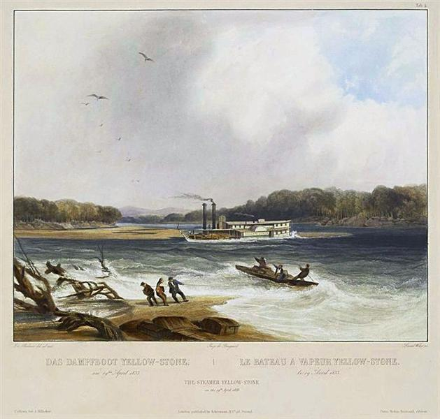 Yellowstone, Missouri River steamboat, depicted as aground on, 1844 - Karl Bodmer