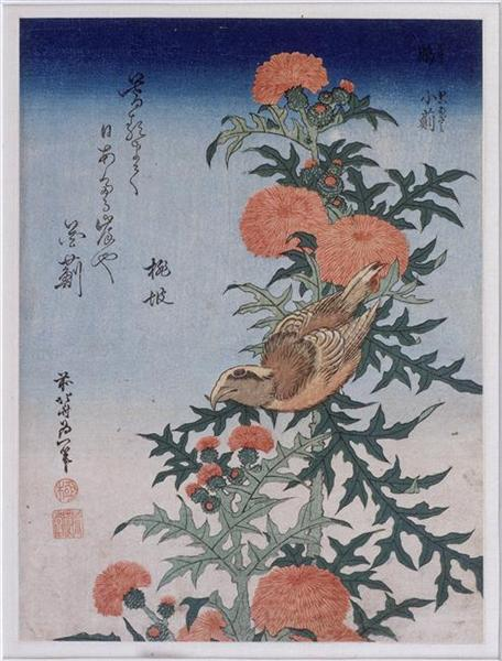 Crossbill and Thistle, 1834 - Hokusai