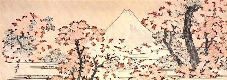 Mount Fuji seen through cherry blossom - Katsushika Hokusai