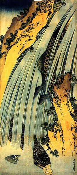 Two carp in a cascade - Кацусика Хокусай
