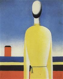 Complex Presentiment: Half-Figure in a Yellow Shirt - Kasimir Sewerinowitsch Malewitsch