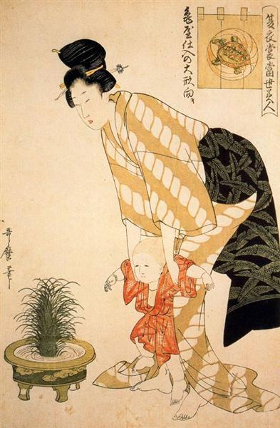Flower patterned cotton - Kitagawa Utamaro