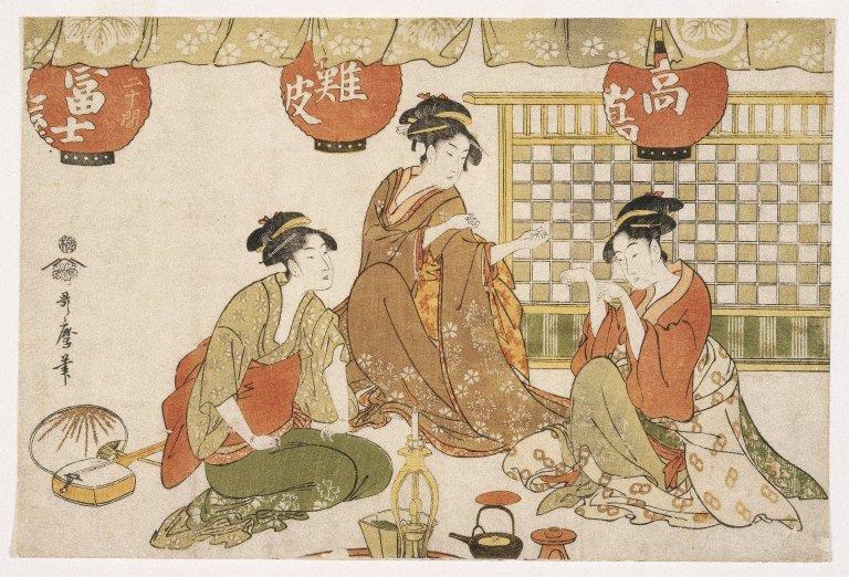 Utamaro Kitagawa ,,Trys sėdinčios damos su žibintais