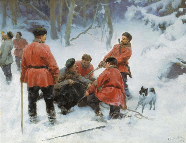 Capture of bear in the woods, 1907 - Klavdy Lebedev
