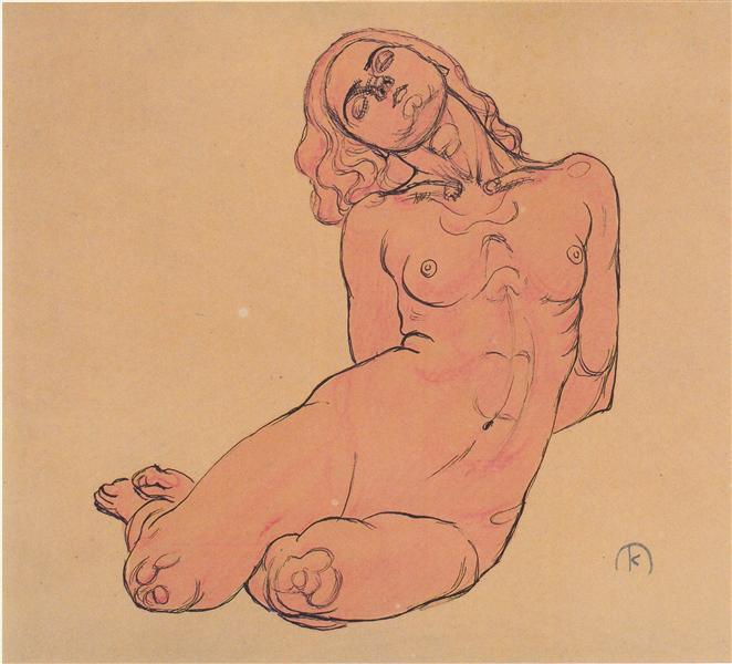 A crouching woman, c.1914 - Koloman Moser