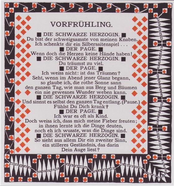 Early spring. Illustration to a poem by Rainer Maria Rilke., 1901 - Koloman Moser