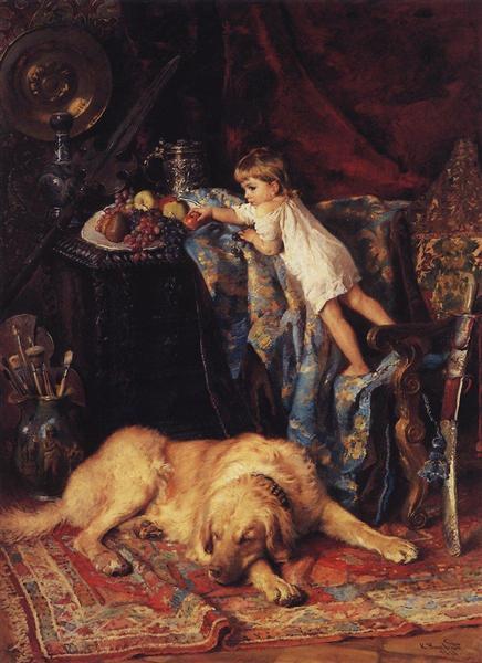 In Artist's Workshop, 1881 - Konstantin Makovsky