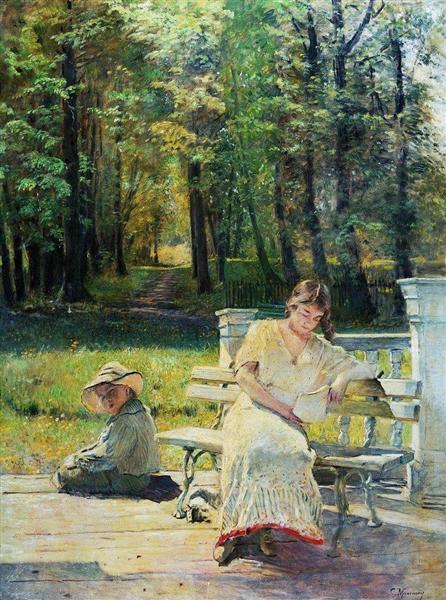 Olenka and Kolya on the Steps, c.1900 - Konstantin Makovsky