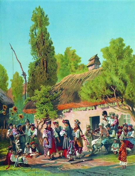 Sunday evening in the village, 1879 - Konstantin Makovsky