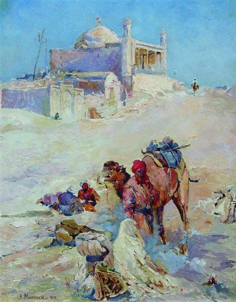 The scene on the outskirts of the city, 1875 - Konstantin Makovsky