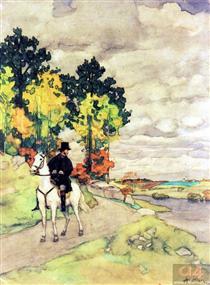 Pushkin on horseback - Konstantin Yuon