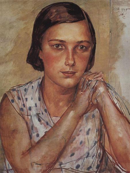 Portrait of the artist's daughter, 1935 - Kuzma Petrov-Vodkin