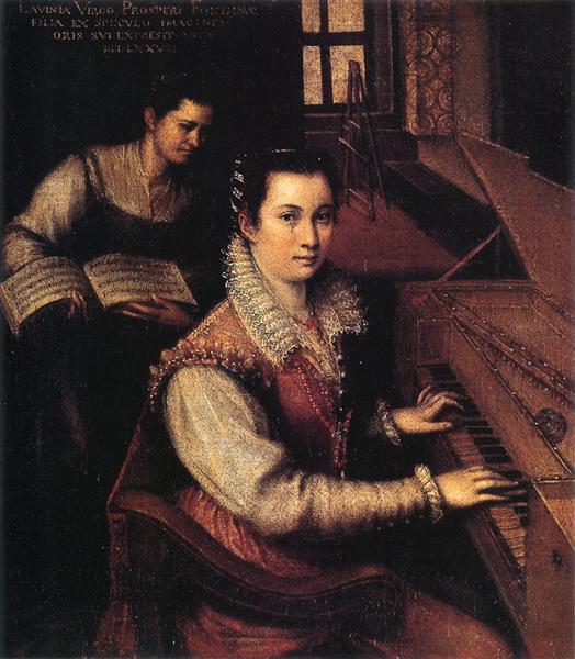 Self-Portrait at the Clavichord with a Servant, 1577 - Lavinia Fontana