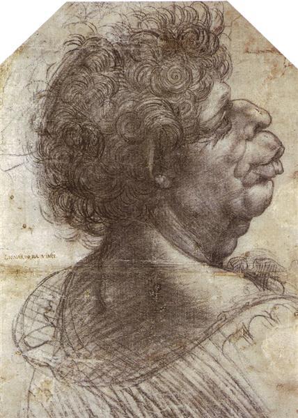 A Grotesque Head  Grotesque head, c.1502 - Leonardo da Vinci
