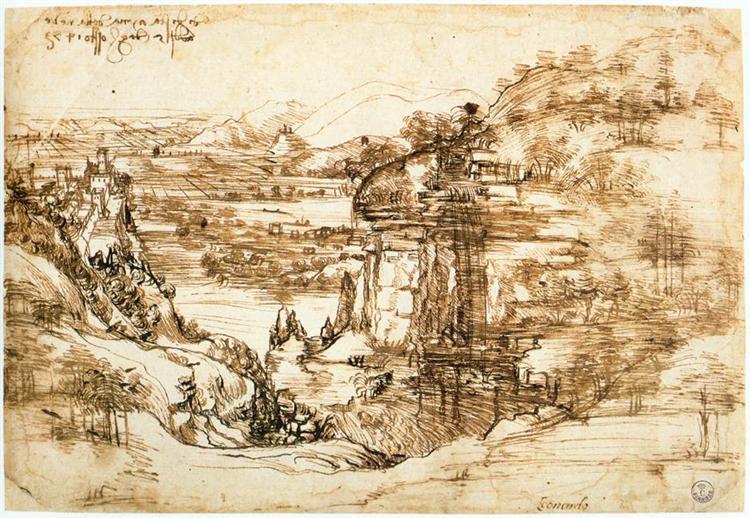 Landscape drawing for Santa Maria della Neve, 1473 - Leonardo da Vinci