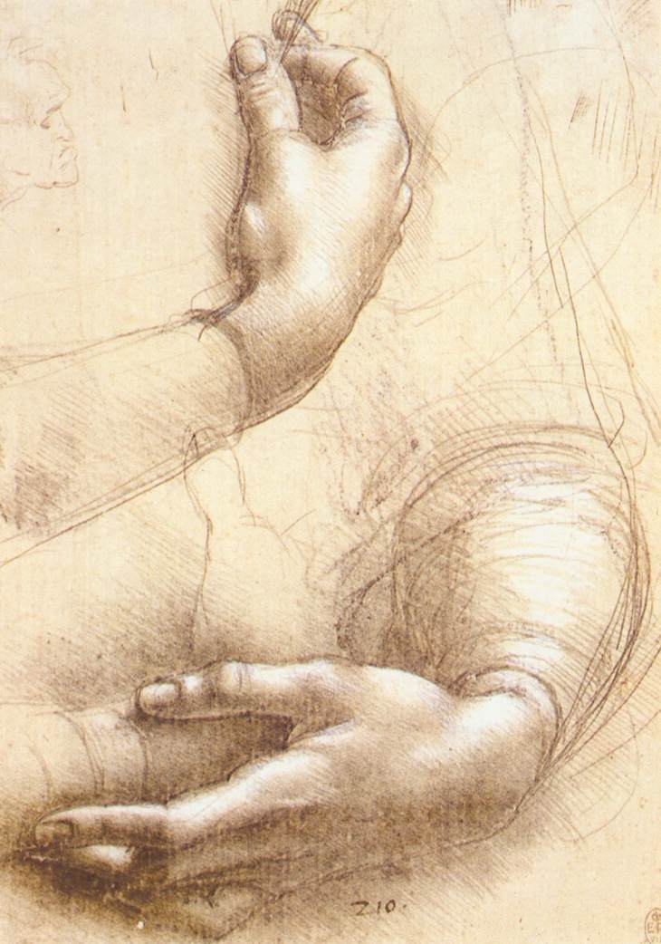 Image result for leonardo da vinci study of hands