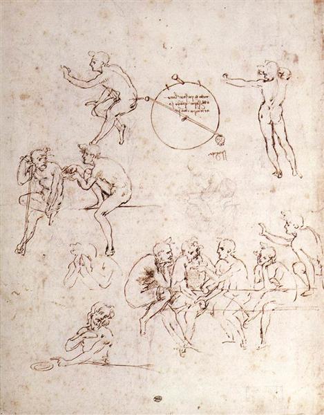 Various figure studies, c.1490 - Leonardo da Vinci