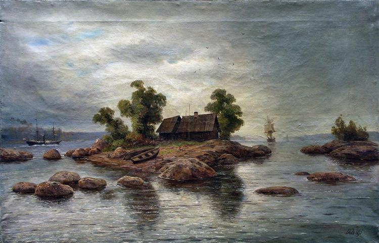 Farmhouse on the island, 1895 - Lev Lagorio