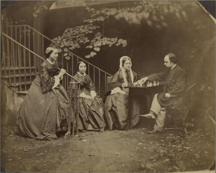 Dante Gabriel Rossetti with his sisters Christina and Maria and their mother Frances, 1863 - Lewis Carroll