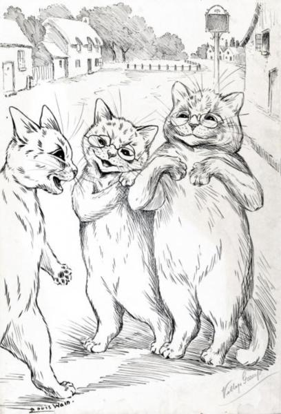 THE CONFIDENCE TRICK BAFFLED SHARP CAT - Louis Wain