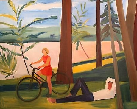 Maine, Girl with Bicycle and Recumbent Man, 1976 - Louisa Matthiasdottir