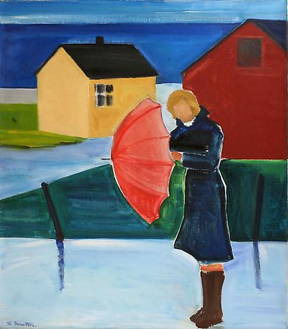 Woman in Reykjavik with Umbrella, 1980 - Louisa Matthiasdottir