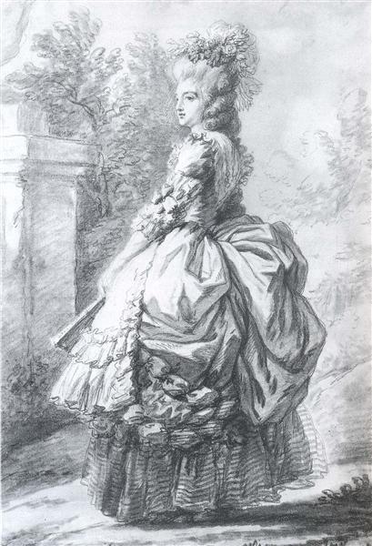 Marie Antoinette walking in a garden - Louise Elisabeth Vigee Le Brun