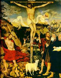 Христос Спаситель с Мартином Лютером - Лукас Кранах Старший