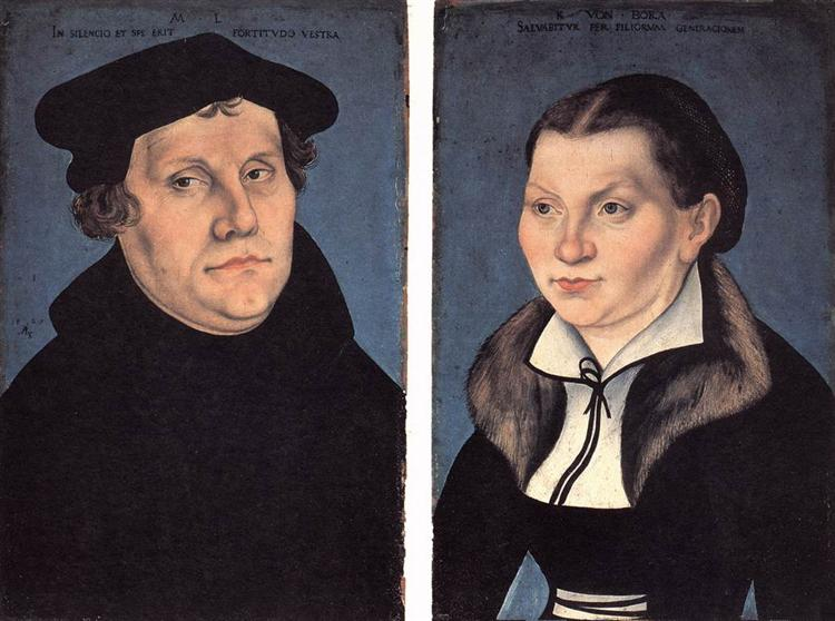 Diptych with the Portraits of Martin Luther and his Wife, 1529 - Lucas Cranach der Ältere