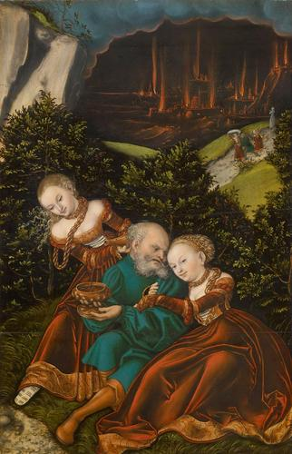 Lot and his daughters, 1528 - Lucas Cranach der Ältere